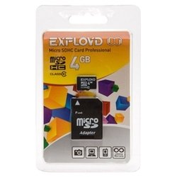 EXPLOYD microSDHC Class 10 4GB + SD adapter