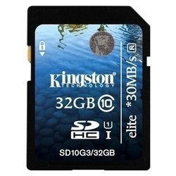 kingston sdhc 32гб класс 10 uhs-i elite (sd10g3/32gb)