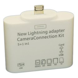 картридер usb, карты памяти sd, mmc для iphone 5 / ipad mini / ipad 4 camera connection kit 5 в 1 palmexx