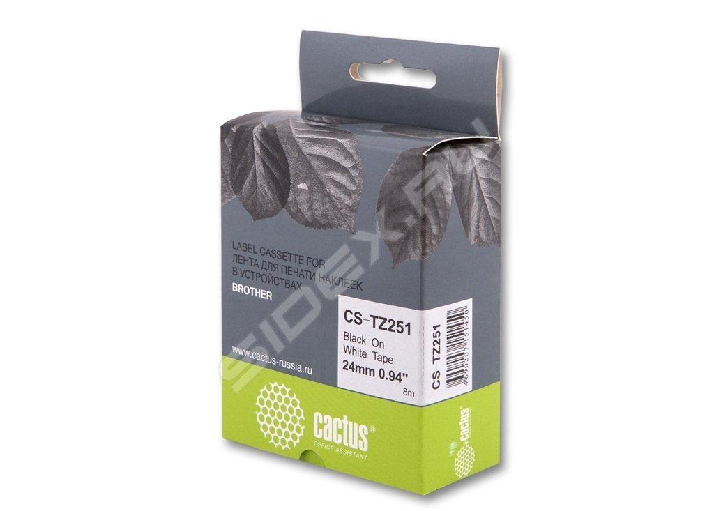 Лента Cactus CS-TZ241 для принтеров Brother P-touch 1010/1280/1280VP/2700VP черный на белом 18ммх8м