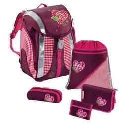 Ранец школьный Tweedy Hearts Flexline Step by Step (розовый/серый) с аксессуарами