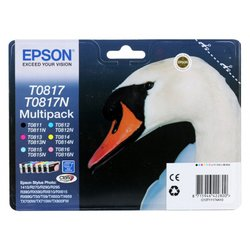 Комплект картриджей для Epson Stylus Photo 1410, R270, R290, R295, R390, RX590, RX610, T50, T59, TX710W, TX800FW, TX650, TX659, TX700W (Epson T0817) (6 шт)