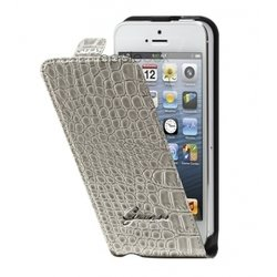 чехол для apple iphone 5 (guess guflp5crb flip case croco) (бежевый)