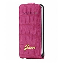 чехол для apple iphone 5 (guess guflp5cmp flip case croco) (розовый)