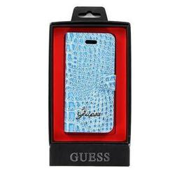чехол для apple iphone 5 (guess guflhp5crn slim folio case croco) (голубой)