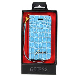 чехол для apple iphone 5 (guess guwap5crn wallet case croco) (голубой)