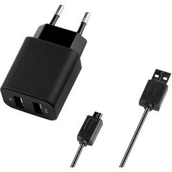Сетевое зарядное устройство 2 USB + кабель USB - microUSB (Deppa 11303)