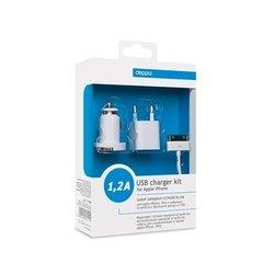Сетевое + автомобильное зарядное устройство USB + дата кабель для  Apple 30-pin (Deppa 11100)