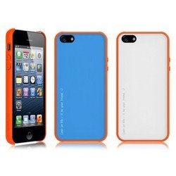 чехол для apple iphone 5, 5s (araree amy 1+2) (orange coral + white)