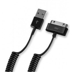 Дата-кабель для Apple iPhone, iPod (Deppa 72119) (USB-30-pin, витой) (черный)