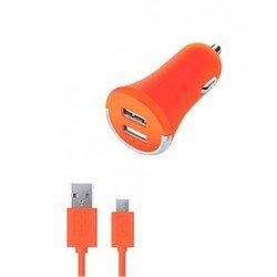 Автомобильное зарядное устройство 2 USB 2,1А + дата-кабель microUSB (Deppa Ultra Colors 11269) (оранжевый)