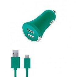 Автомобильное зарядное устройство 2 USB 2,1А + дата-кабель microUSB (Deppa Ultra Colors 11270) (бирюзовый)