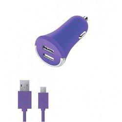 Автомобильное зарядное устройство 2 USB 2,1А + дата-кабель microUSB (Deppa Ultra Colors 11271) (фиолетовый)