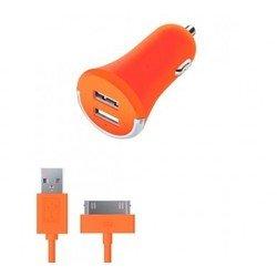 Автомобильное зарядное устройство 2 USB 2.1А + дата-кабель 30-pin для Apple (Deppa Ultra Colors 11272) (оранжевый)