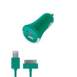 Автомобильное зарядное устройство 2 USB 2.1А + дата-кабель 30-pin для Apple (Deppa Ultra Colors 11273) (бирюзовый)