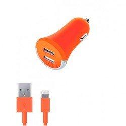 Автомобильное зарядное устройство + дата-кабель Lightning - USB для Apple iPhone 5, 5C, 5S, 6, 6 plus, iPad 4, Air, Air 2, mini 1, mini 2, mini 3 (Deppa Ultra Colors 11275) (оранжевый)