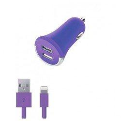 Автомобильное зарядное устройство + дата-кабель Lightning - USB для Apple iPhone 5, 5C, 5S, 6, 6 plus, iPad 4, Air, Air 2, mini 1, mini 2, mini 3 (Deppa Ultra Colors 11277) (фиолетовый)