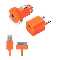 Автомобильное зарядное устройство + сетевое зарядное устройство + дата-кабель 30-pin для Apple (Deppa Ultra Color 11160) (оранжевый)