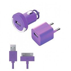Автомобильное зарядное устройство + сетевое зарядное устройство + дата-кабель 30-pin для Apple (Deppa Ultra Color 11162) (фиолетовый)