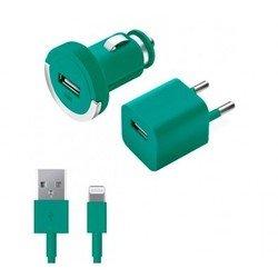 Автомобильное зарядное устройство + сетевое зарядное устройство + дата-кабель Lightning - USB для Apple iPhone 5, 5C, 5S, 6, 6 plus, iPad 4, Air, Air 2, mini 1, mini 2, mini 3 (Deppa Ultra Color 11164) (бирюзовый)