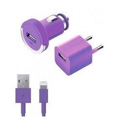 Автомобильное зарядное устройство + сетевое зарядное устройство + дата-кабель Lightning - USB для Apple iPhone 5, 5C, 5S, 6, 6 plus, iPad 4, Air, Air 2, mini 1, mini 2, mini 3 (Deppa Ultra Color 11165) (фиолетовый)