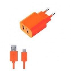 Сетевое зарядное устройство 2 USB 2,1А + дата-кабель microUSB (Deppa Ultra Colors 11366) (оранжевый)