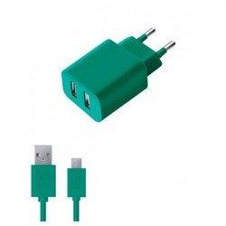 Сетевое зарядное устройство 2 USB 2,1А + дата-кабель microUSB (Deppa Ultra Colors 11367) (бирюзовый)