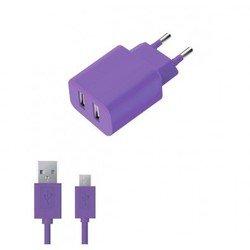 Сетевое зарядное устройство 2 USB 2,1А + дата-кабель microUSB (Deppa Ultra Colors 11368) (фиолетовый)