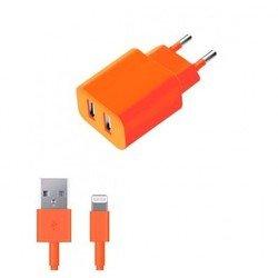 Сетевое зарядное устройство + дата-кабель Lightning - USB для Apple iPhone 5, 5C, 5S, 6, 6 plus, iPad 4, Air, Air 2, mini 1, mini 2, mini 3 (Deppa Ultra Colors 11369) (оранжевый)