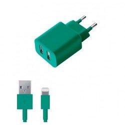 Сетевое зарядное устройство + дата-кабель для Lightning - USB для Apple iPhone 5, 5C, 5S, 6, 6 plus, iPad 4, Air, Air 2, mini 1, mini 2, mini 3 (Deppa Ultra Colors 11370) (бирюзовый)