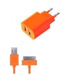 Сетевое зарядное устройство 2 USB 2.1А + дата-кабель 30-pin для Apple (Deppa Ultra Colors 11372) (оранжевый)