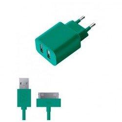 Сетевое зарядное устройство 2 USB 2.1А + дата-кабель 30-pin для Apple (Deppa Ultra Colors 11373) (бирюзовый)