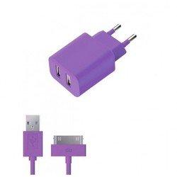 Сетевое зарядное устройство 2 USB 2.1А + дата-кабель 30-pin для Apple (Deppa Ultra Colors 11374) (фиолетовый)