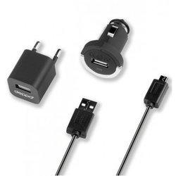 Автомобильное зарядное устройство + сетевое зарядное устройство + дата-кабель micro USB 1.2A (Deppa Ultra 11101) (черный)