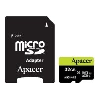 apacer microsdhc card class 10 uhs-i u1 (r95 w45 mb/s) 32gb + sd adapter