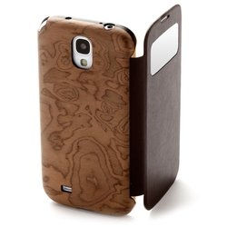 чехол-книжка для samsung galaxy s4 i9500 (man&wood msgl405f brown swirl) (темное дерево)