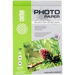 Фотобумага матовая, самоклеящаяся А3 (20 листов) (Cactus CS-MSA310020)