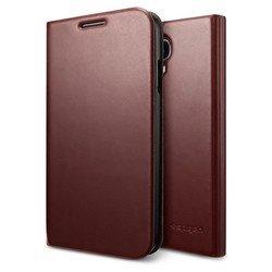 Кожаный чехол-книжка для Samsung Galaxy S4 GT-I9500, GT-I9505 (Spigen SGP Slim Wallet S SGP10283) (темно-коричневый)