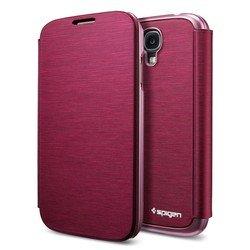Металлический чехол-книжка для Samsung Galaxy S4 GT-I9500, GT-I9505 (Spigen SGP Ultra Flip Metallic SGP10270) (красный)