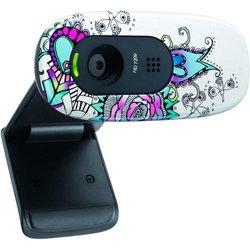 Logitech HD Webcam C270 (960-000919) (цветочный узор) (черно-белый)