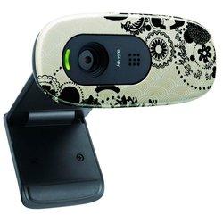 Logitech HD Webcam C270 (960-000915) (цветочный узор) (черно-бежевый)