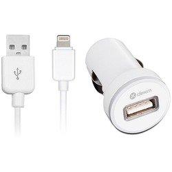 Автомобильное зарядное устройство + дата-кабель Lightning - USB для Apple iPhone 5, 5C, 5S, 6, 6 plus, iPad 4, Air, Air 2, mini 1, mini 2, mini 3 (Dexim DCA333-W) (белое)