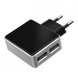 Универсальное сетевое зарядное устройство 2xUSB 3.1A (Deppa Ultra 11309) (черное)