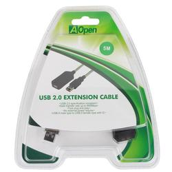 Кабель-удлинитель активный с усилителем, USB A (m) - USB A (f), USB2.0, 5м (Aopen ACU823-5M)