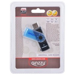 Картридер AII in 1, USB 2.0 (Ginzzu GR-412B) (черно-голубой)
