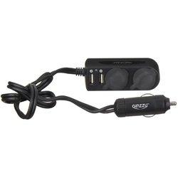 Разветвитель прикуривателя на 2 гнезда с 2 USB + удлинитель (GINZZU GA-4615UB)
