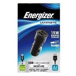 Автомобильное зарядное устройство 2 USB + кабель micro USB (Energizer DC2UUMC2)