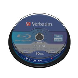 ���� bd-r dl verbatim 50gb 6x cake box (10��) (43746)