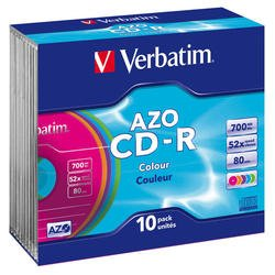 Диск CD-R Verbatim 700Mb 52x Slim Color (10шт) (43308)