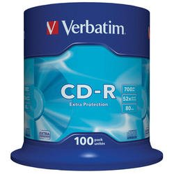 ���� CD-R Verbatim 700Mb 52x DataLife Cake Box (100 ��) (43411)